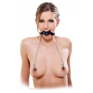 Fetish Fantasy Series Ball Gag And Nipple Clamps - Black
