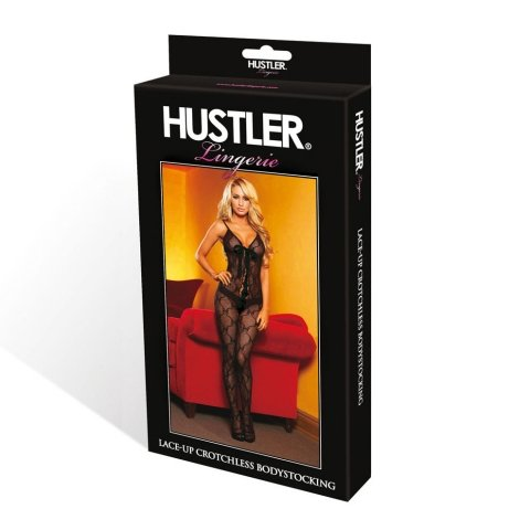 Hustler Lingerie Bow Lace Crotchless Bodystocking W/Lace Up Front(With Black Ribbon)