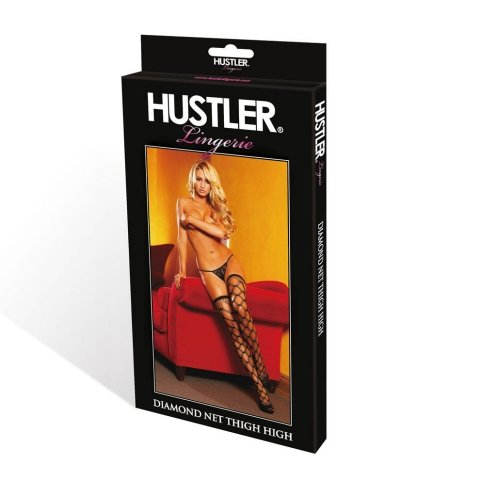 Hustler Lingerie Multi Fence Net Thigh High-Black