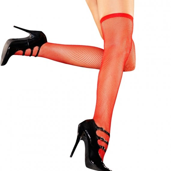 Hustler Lingerie Fishnet Thigh High-Red