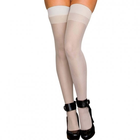 Hustler Lingerie Sheer Thigh High-White