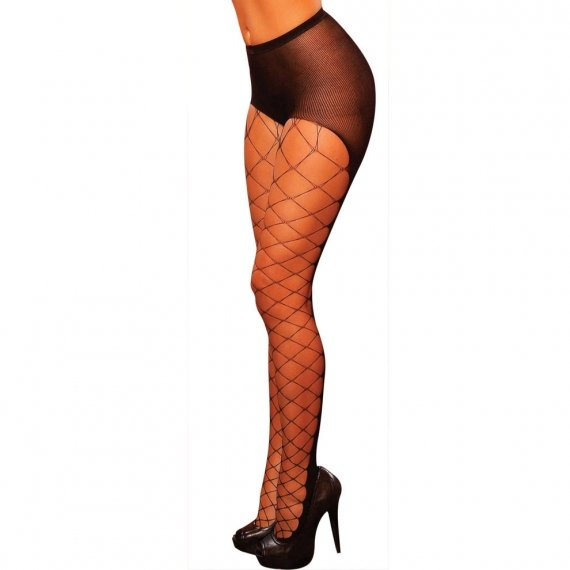 Hustler Lingerie Fence Net With Enforce Opaque Back Pantyhose
