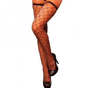Hustler Lingerie Diamond Net Thigh High-Black
