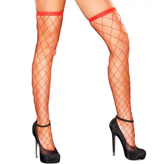 Hustler Lingerie Diamond Net Thigh High-Red