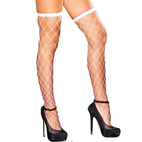 Hustler Lingerie Diamond Net Thigh High-White