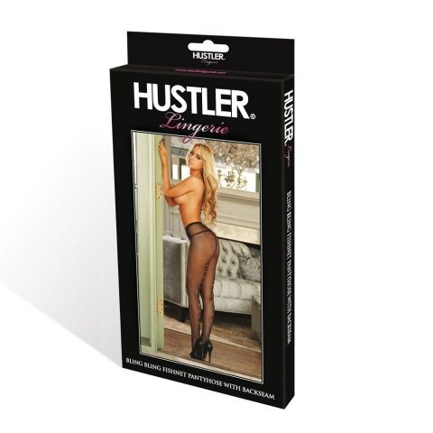 Hustler Lingerie Fishnet Backseam Pantyhose W/Rhinestone