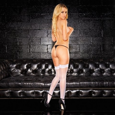 Hustler Lingerie Fishnet Thigh Hi W/6 cm Lace Silicone Stay Up-White