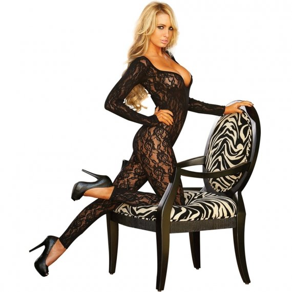 Hustler Lingerie Lace Long Sleeved Footless Crotchless Bodystocking
