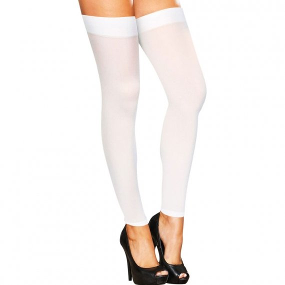 Hustler Lingerie Footless Sheer Thigh High-White