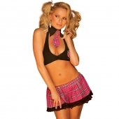 Hustler Lingerie 3PC Sexy Schoolgirl With Lace Trim-Black/Pink