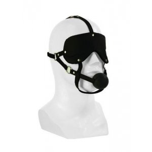 Lover's Advanced Headgear With Ball Gag - Black