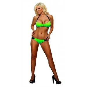 Shirred Halter And Brief Set - Lime