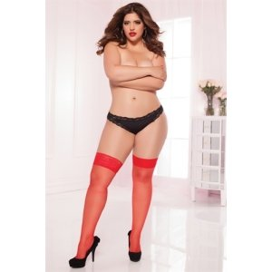 Sheer Lace Thigh High - Red  - Queen Size