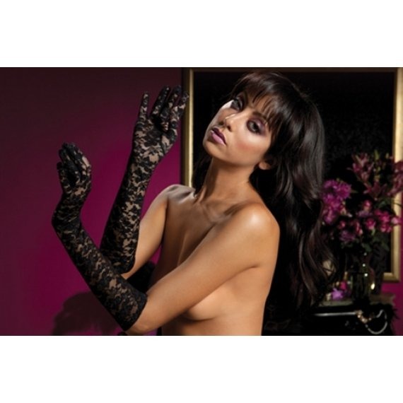 Lace Elbow Gloves - Black