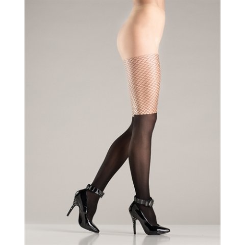 Two Tone Sheer Pantyhose -  Black and Nude  - One Size