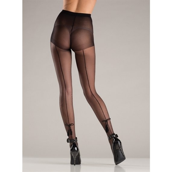 Spandex Sheer Back Seam  Pantyhose - Black - One Size