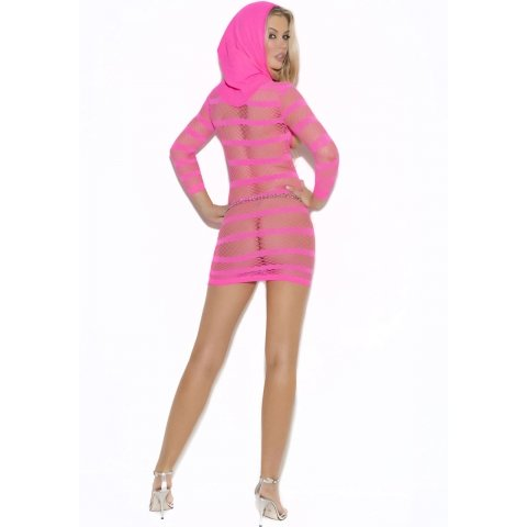 Mini Dress with Hood - Neon  Pink - One Size
