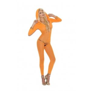 Bodystocking with Hood - Neon  Orange - One Size