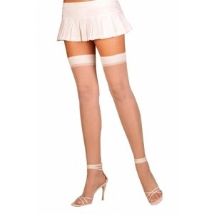 Sheer Thigh High - White - One  Size