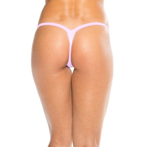 Wide Strap T-back Thong -  Baby Pink - One Size