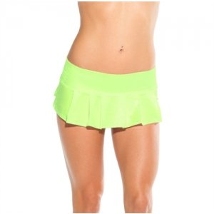 Micro Pleated Skirt - Neon  Green - One Size