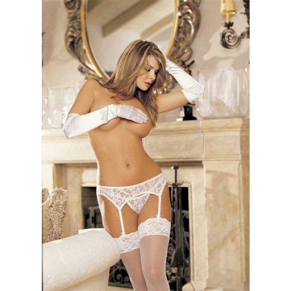 Lace Garterbelt Set - White  - One Size