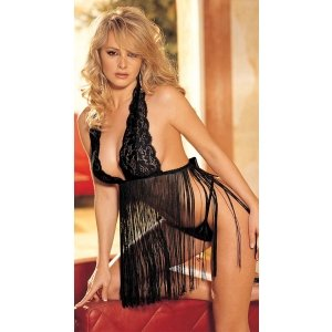 Stretch Lace and Fringe  Babydoll Set - Black- One