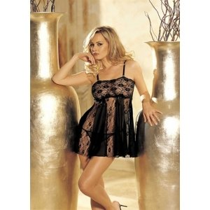 Stretch Lace and Sheer Net  Babydoll - Black - One Size