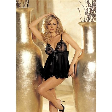 Sequin Embroidery and Sheer  Net Babydoll - Black - One