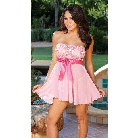 Tie-front Stretch Lace and  Mesh Babydoll - Pink - One