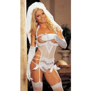 3-piece Bride Set - White -  One Size