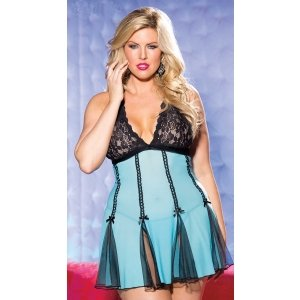 Stretch Lace and Net Babydoll  - Turquoise and Black - Queen