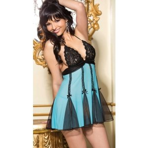 Stretch Lace and Net Babydoll  - Turquoise and Black - One