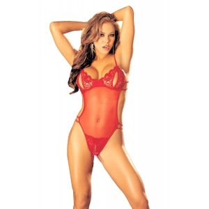 Lace and Stretch Mesh  Peek-a-boo Crotchless Teddy -