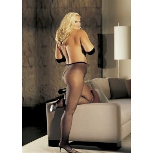 Stretch Fishnet Pantyhose -  Black - One Size