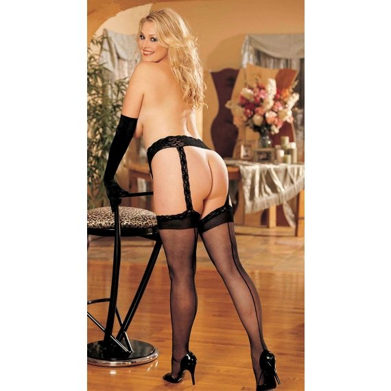 Garterbelt and Stocking Set -  Black - Queen Size