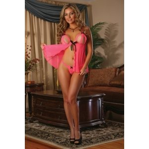 Peek-a-boo Babydoll and Crotchless G-string Set - Coral