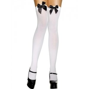 Thigh High Stockings with  Black Bow - White  Fv-29334