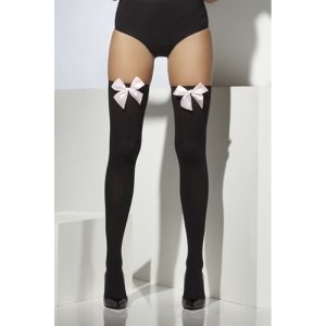 Thigh High Stocking with Pink  Bow - Black  Fv-30034