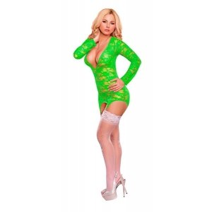 Merry Widow Dress And G-String Set - Neon Green - 1X/3X