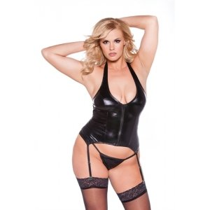 Sexy Kitten Corset - Black -  Queen Size