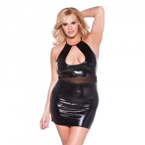 Kitten Wet Look Halter Dress  - Black - One Size