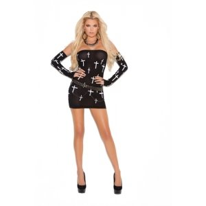 Mini Dress and Gloves with  Printed Cross Designed -  Black - One Size