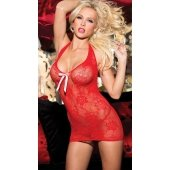 Stretch Lace Halter Chemise -  Red - One Size