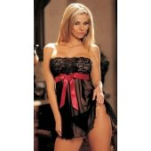 Tie-front Stretch Lace and  Mesh Babydoll - Black - One  Size