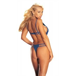 Lace and Stretch Mesh  Peek-a-boo Crotchless Teddy -  Royal Blue - One Size