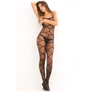 Strapped Up Sheer Bodystocking  - Black - One Size