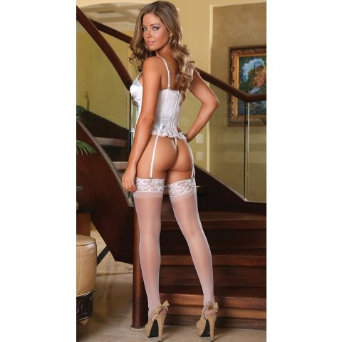 Corset and G-string - White