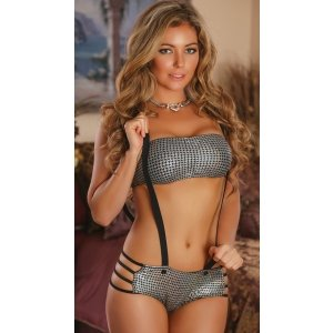 Bandeaux and Boyshort with  Removable Suspenders - Silver  - 1x-3x