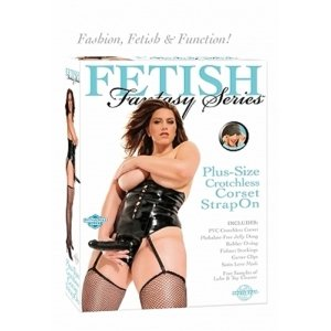 Fetish Fantasy Series Crotchless Corset Strap-On - Plus Size